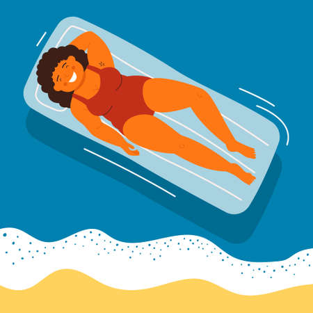 Smiling woman lying on air mattresses in swimming pool. Young girl relaxing and sunbathing in top view. Vector character illustration of summertime sea vacation, weekend at resort, summer recreation.