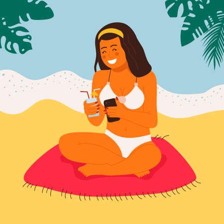Sunbathing girl on the beach doing selfie flat vector illustration