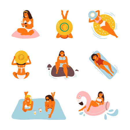 Summer vacation on the beach, vector illustration. Flat sea holiday activities, women, people travel in sandy design. Cartoon ocean leisure, man having fun and outdoors Vectores