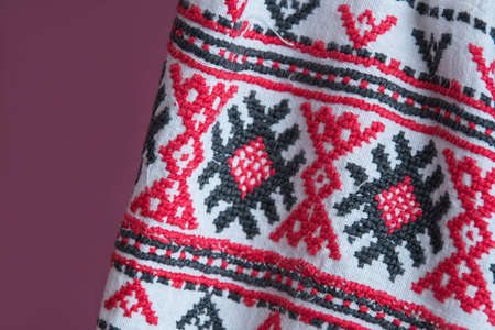 Belorussian ethnic national folks ornament on clothes. Slavic Traditional Pattern Ornament Embroidery. Culture of Belarus Banco de Imagens - 109578154