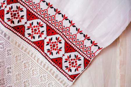 Belorussian ethnic national folks ornament on clothes. Slavic Traditional Pattern Ornament Embroidery. Culture of Belarus