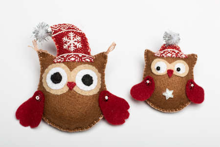 two brown owl handmade Stock Photo