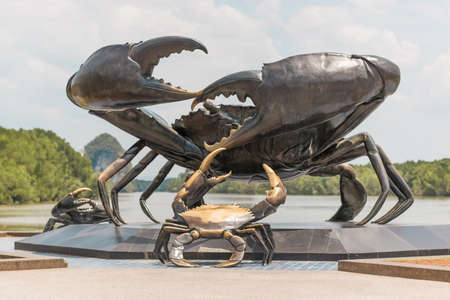 The metal sculpture of the symbol of the province and the visiting card of the city is Crab, KRABI, THAILAND - 21 MARCH 2018.