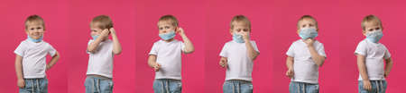 A step-by-step guide on how to put on a medical mask to protect against coronavirus, 6 steps shows a blond baby boy in studio shooting on a pink background. Concept banner for website heading.