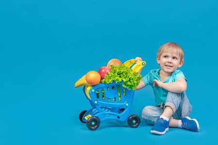 A child of European appearance, a blond boy, is sitting on the floor near a shopping trolley from a supermarket filled with groceries, fruits, bread and greens and smiling. Studio photography.