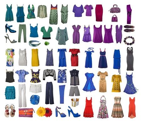 洋服: インターネットやバナーのさまざまな服やアクセサリーのアイコンのコレクション