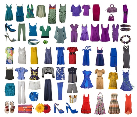 green clothes: collection of icons of different clothes and accessories for the Internet and banners