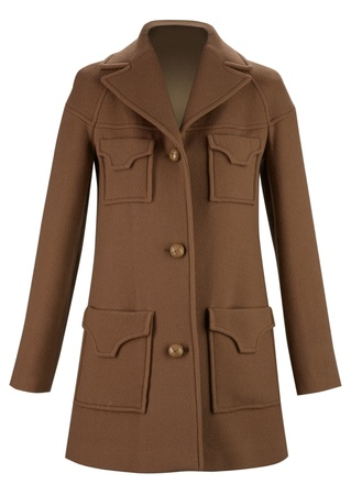habiliment: brown coat