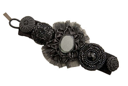 hairpin: black flowers hairpin isolated