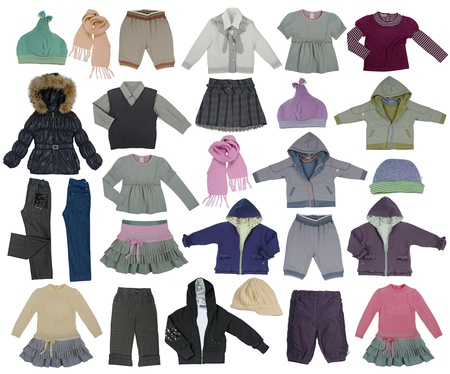 winter clothes: collection of children clothes