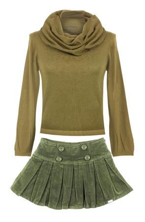 yellow sweater and skirt photo