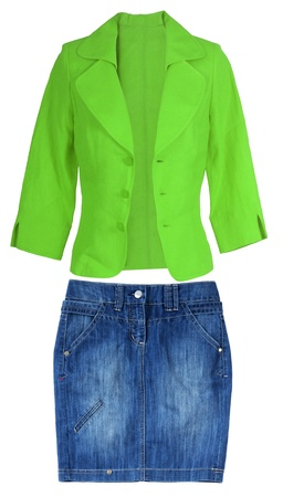 blue jeans skirt and green jacket photo