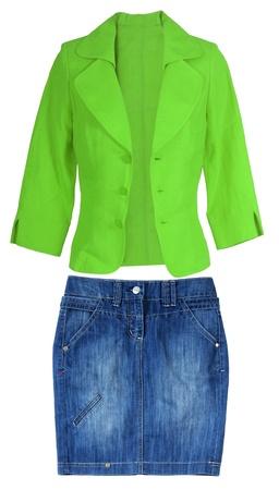 pantalones falda azul y una chaqueta verde photo