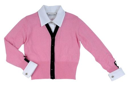pink woolen jacket photo