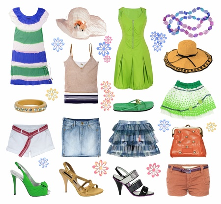 summer wear: summer clothes collection Stock Photo