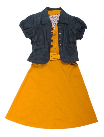 'rig out': jeans jacket and yellow dress