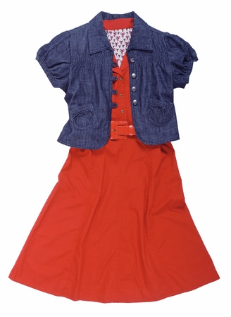 'rig out': red dress and blue jacket isolated on white Stock Photo