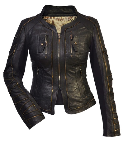 women leather jacket photo