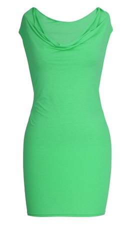 'rig out': green dress isolated on white