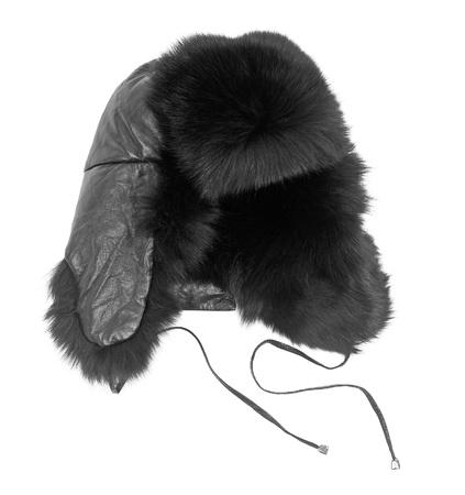 부드러운 털의: 흰색에 고립 된 모피 모자