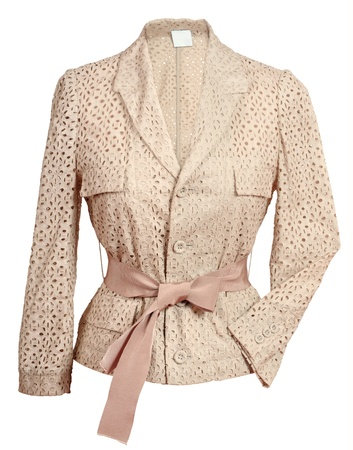 'rig out': beige jacket isolated on white