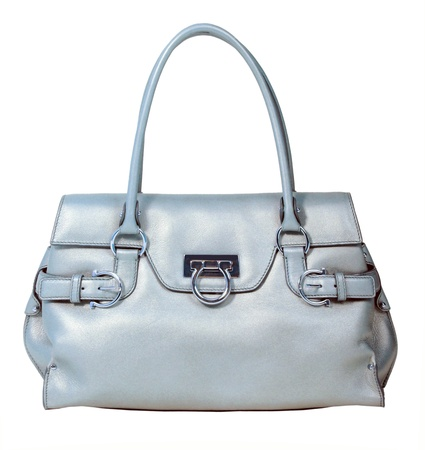 vanity bag: gray bag isolated on white