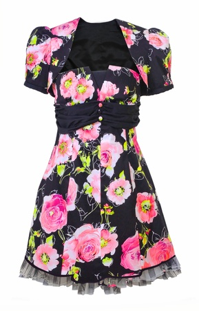 'rig out': dress with pink roses