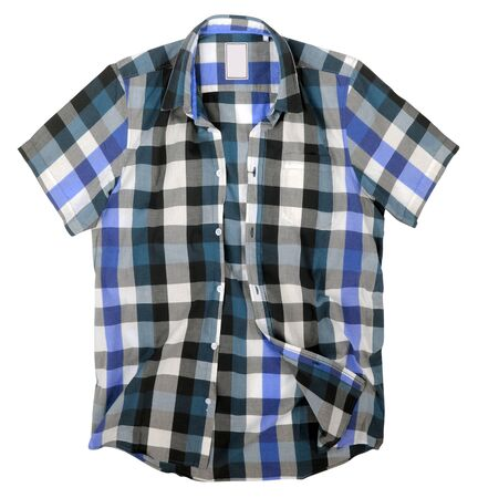 checkered polo shirt: men shirt isolated on white