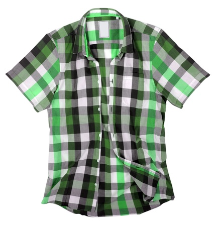 checkered polo shirt: green shirt isolated on white