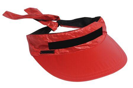visor: red visor isolated on white Stock Photo