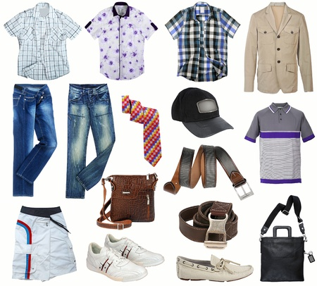 male clothes collection isolated on white Stock Photo