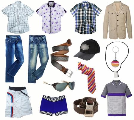 ropa de verano: colecci�n de ropa masculina aislado en blanco