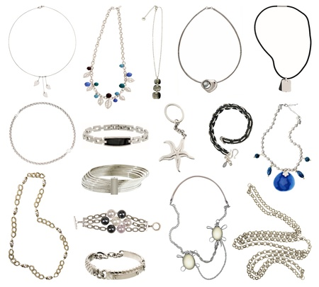 necklace: collection of silver jewelery Stock Photo