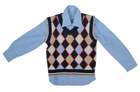 blue shirt and checkered vest Stock Photo - 18957853