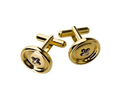 cufflinks: golden cufflinks Stock Photo
