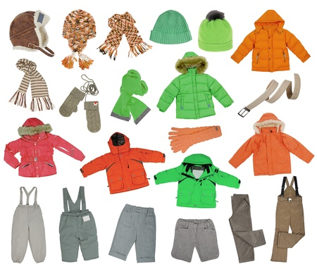 collection of warm children clothing photo