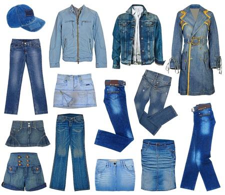 mezclilla: conjunto de jeans de moda