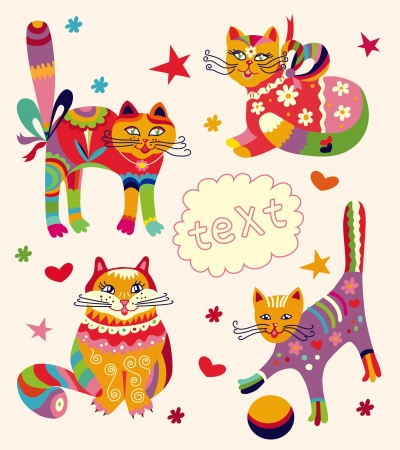Greeting card with beautiful cats Vector