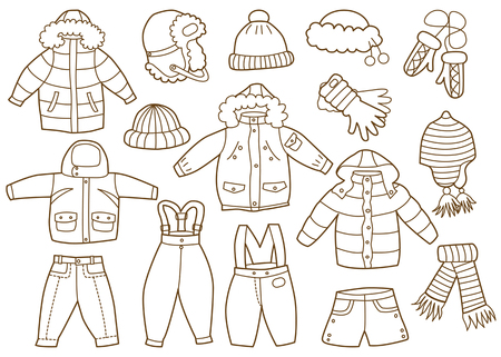 warm clothing: collection of winter children clothes