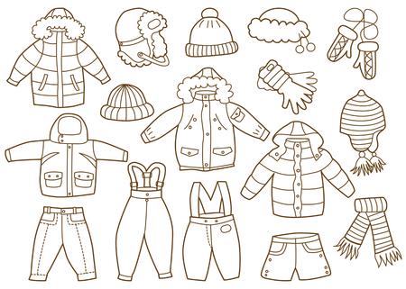 Sammlung von Winter Kinderkleidung