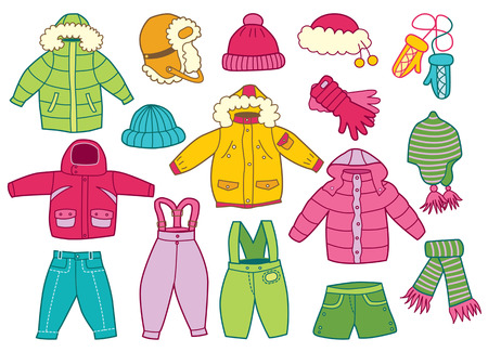 collectie van winter kinderkleding Stock Illustratie