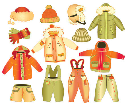 collection of winter children's clothing Vector