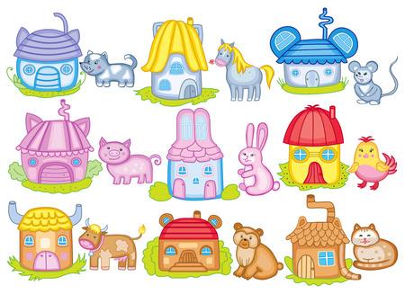 farmstead: animal houses (vector illustration)