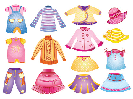 collection of children's clothing Vector