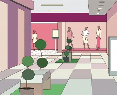 hall in a modern shopping center (vector illustration) Ilustrace