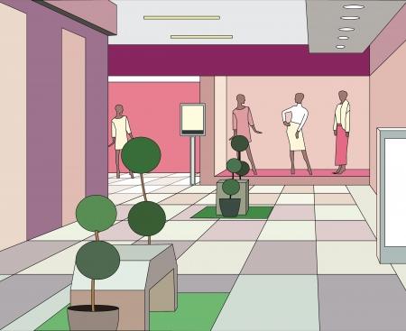 mall interior: hall in a modern shopping center (vector illustration) Illustration