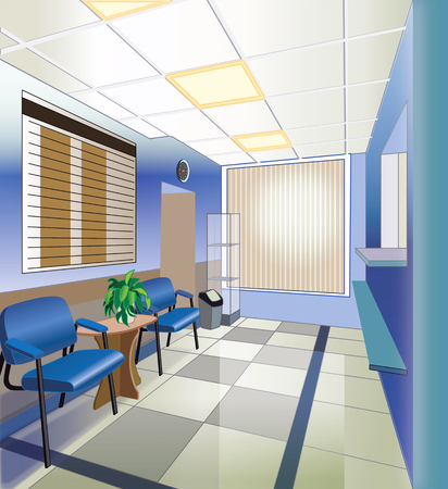 waiting room: interior of hospital (vector illustration) Illustration