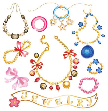 collectie van gouden sieraden met edelstenen (vector illustratie)