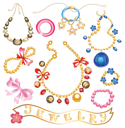 jewelery: collection of gold jewelery with precious stones (vector illustration)