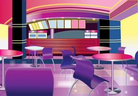 dining room: Interior of a modern bar (vector illustration)